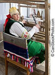 donna, in, nazionale, storico, russo, costume