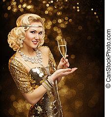donna, in, oro, vestire, bere, champagne, bello, retro, moda, signora, festeggiare, festa, con, vetro vino