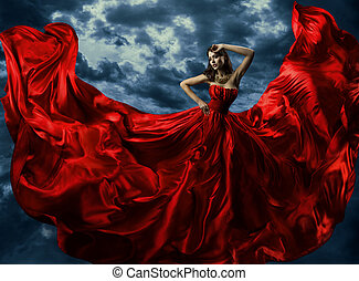 donna, in, rosso, abito da sera, ondeggiare, veste, con, volare, lungo, tessuto, sopra, artistico, cielo, fondo