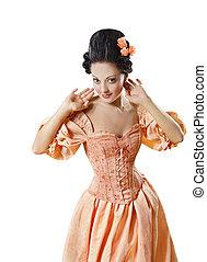 donna, in, storico, barocco, costume, corsetto, ragazza, in, rococo, retro