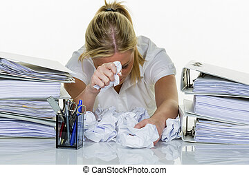 donna, in, ufficio, con, esaurimento