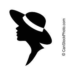 donna, in, uno, hat-, vettore