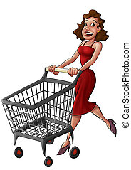 donna, in, uno, supermercato
