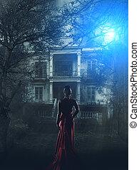 donna, in, vestito rosso, a, casa perseguitata