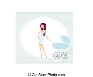 donna, incinta, bello