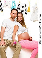 donna incinta, e, lei, marito