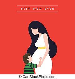 donna, incinta, madri, illustrazione, giorno, felice