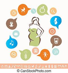 donna, incinta, set, icone, sano, lyfestyle, infographics