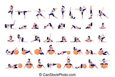 donna, incinta, set, yoga, exercise.