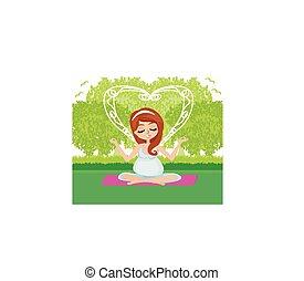 donna incinta, yoga, rilassare