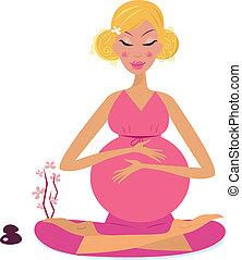 donna, incinta, yoga