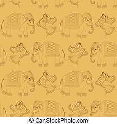 donna, indiano, ballo, elefante