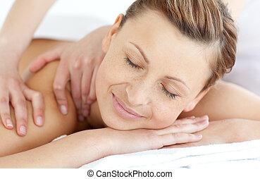 donna indietro, charmant, massaggio, godere