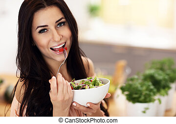 donna, insalata, moderno, preparare, cucina, felice