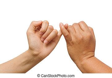 donna, insieme, segno, dito, presa a terra, amicizia, uomo