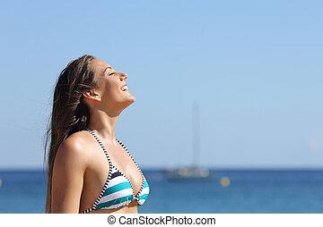 donna, inspirazione, estate, vacanze, spiaggia