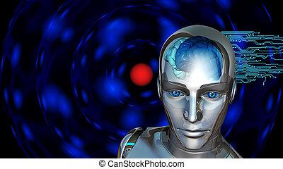 donna, intelligenza, -, robot, artificiale, cervello, umano