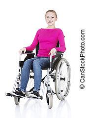 donna, invalido, sedia, seduta, sorridente, attraente, ruota