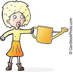 donna, irrigazione, cartone animato, lattina