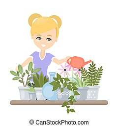 donna, irrigazione, plants.