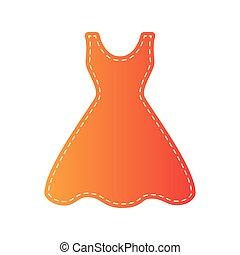 donna, isolated., segno., applique, arancia, vestire