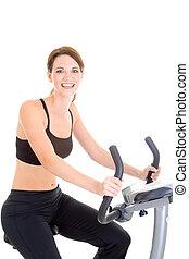 donna, isolato, bicicletta, fondo, sentiero per cavalcate, bianco, esercizio, felice
