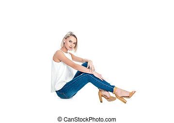 donna, isolato, jeans, proposta, attraente, biondo, bianco