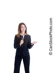 donna, isolato, presa a terra, sorridente, bianco, microfono