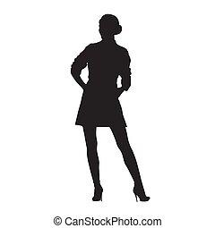 donna, isolato, silhouette., vettore, proposta, modello, standing