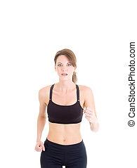 donna, isolato, snello, jogging, fondo, bianco