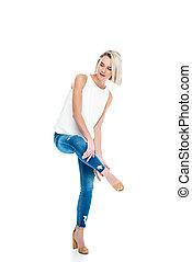 donna, jeans, isolato, attraente, bianco, talloni