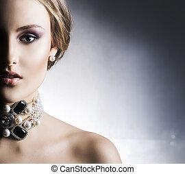 donna, jewels., metallo, fondo, giovane, ricco, bello