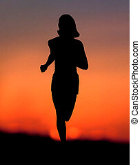 donna, jogging, a, tramonto