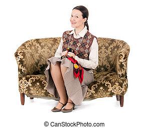 donna, kitsch, retro, divano