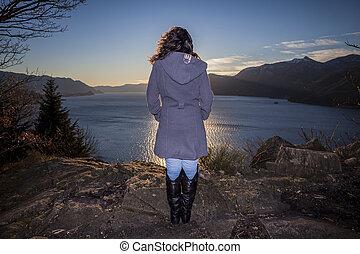 donna, lago, occhiate