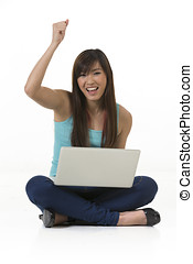 donna, laptop., lavorativo, asiatico
