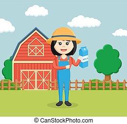 donna, latte, presa a terra, contadino
