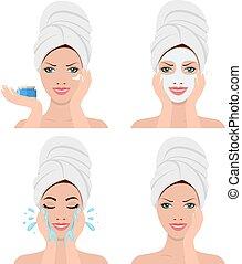 donna, lavaggio, esposizione, faccia, quattro, passi