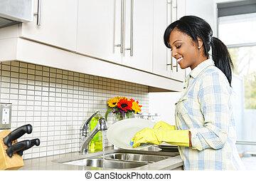 donna, lavaggio, giovane, piatti
