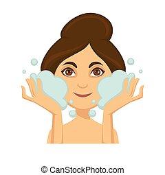 donna, lavaggio, lei, schiuma, giovane, faccia, detergente