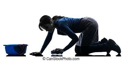 donna, lavaggio, pavimento, domestica, lavori domestici, silhouette