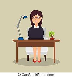 donna, lavorando ufficio, seduta, laptop, scrivania