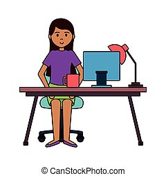 donna, lavorando ufficio, seduta