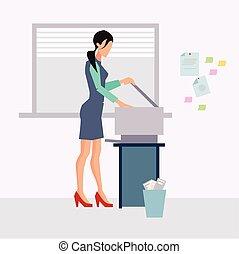 donna, lavorando ufficio
