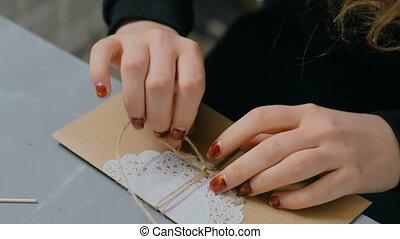 donna, lavorativo, busta, carta involucro, professionale,...