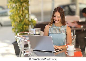 donna, lavorativo, ristorante, stesso, studente, assunto, o