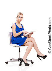 donna, lavorativo, tavoletta