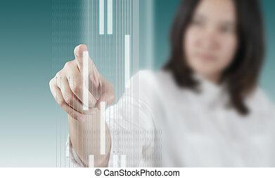 donna, lavorativo, virtuale, mano, interfaccia, tecnologia