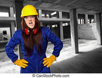 donna, lavoratore, con, casco