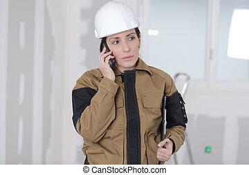 donna, lavoratore, luogo, telefono, costruzione, carino